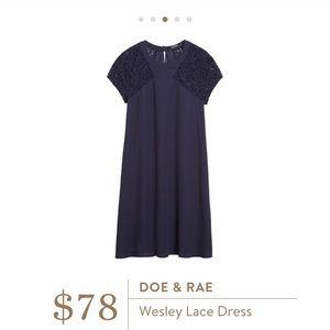 doe & rae Dresses - Doe & Rae Stitch Fix Wesley Lace Sleeve Navy Dress